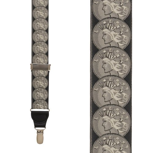 SuspenderStore Mens Vintage Ribbon Coin Of The Realm Suspenders CLIP