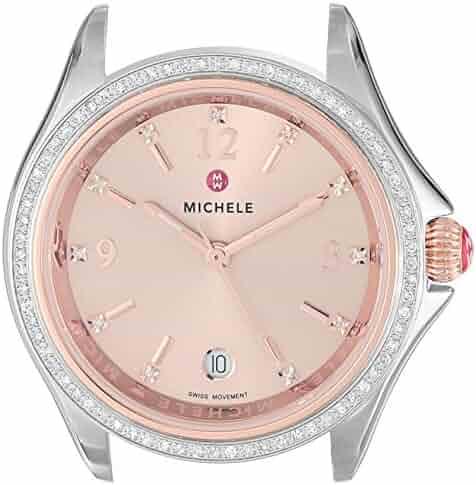 MICHELE Women's 'Belmore Diamond Head' Swiss Quartz Stainless Steel Casual Watch, Color:Two Tone (Model: MW29A01D2971)