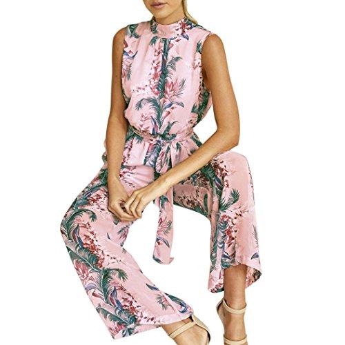 Floral Imprim Manches Sans Large dos en Rose Soie Mousseline de Combishort nu Pantalon Femmes Bande Familizo pqBtA