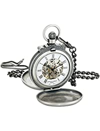 Charles-Hubert, Paris 3868-S Classic Collection Antiqued Finish Double Hunter Case Mechanical Pocket Watch