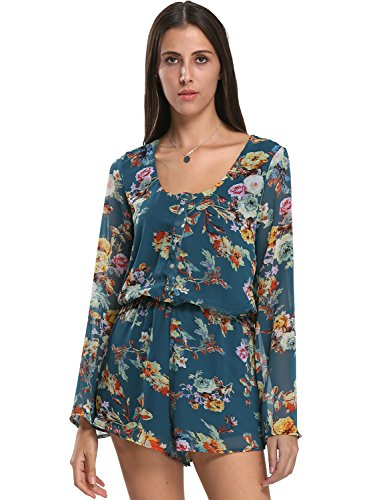 Choies Womens V neck Floral Playsuit