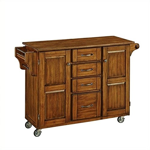 - Home Styles 9100-1066G Create Warm 2 Door Cabinet Kitchen Cart with Oak Top