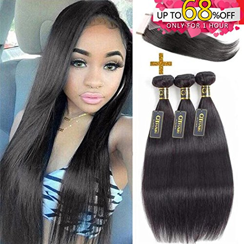 QTHAIR 10A Indian Virgin Hair Straight Human Hair with Lace Closure (16'' 18'' 20'' with 14'') 100% Unprocessed Straight Indian Virgin Hair Weave Natural Black Color Indian Straight Hair Bundles by QTHAIR