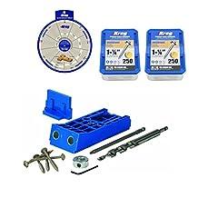 """Kreg SML-F125 1-1/4"""" #7 Fine Maxi-loc 500 Pocket Screws, KJHD Starter Kit, Wheel"""