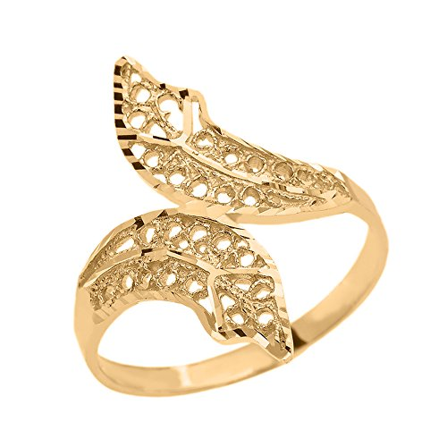 - Double Leaf Filigree Ring in Polished 10k Yellow Gold (Size 9.75)