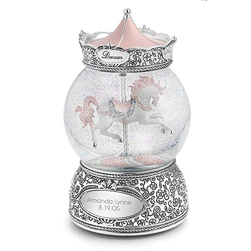 Things Remembered Personalized Carousel Horse Musical Snow Globe with Engraving - Carousel Snow