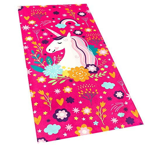 Softerry Love Unicorn Beach Towel Pink Fantasy Rainbow 30 x 60 inches 100% Cotton Velour ()