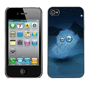 TECHCASE**Cubierta de la caja de protección la piel dura para el ** Apple iPhone 4 / 4S ** Furry Alien Monster Big Eyes Mountains Sky Stars