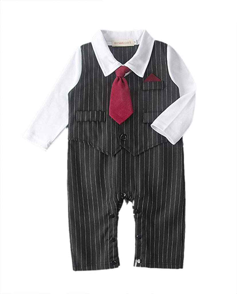 Buy-Box Boys Baby One Piece Black Striped Vest Red Tie Long Sleeve Romper