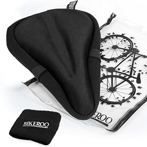 Most Comfortable Exercise Bike Seat Cushion Soft Gel Pad - Universal Bicycle Saddle Cover for Women and Men - For Indoor Cycling, Hybrid, Spinning, Stationary and Mountain Bikes (Best Women Bicycle Saddle)