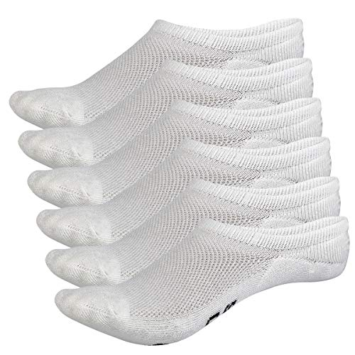 Bamboo Sports Invisible Shoe Liner Socks- Soft & Comfortable Prevent Smelly Feet (White 6 Pair, Medium) ()