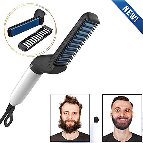 Beard Straighteners for Men Quick Beard Straightener Styler Comb for Men Multifunctional Hair Curling Curler Electric Hair Straightener Brush Show Cap Tool Magic Massage Comb (A)