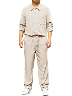 79486b5e1b5a Runcati Mens Rompers Jumpsuits Long Sleeve One Piece Drawstring Casual Roll  Up Coverall with Pockets