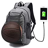 Keynew Business Laptop Backpack with USB Charging Port for Men Water Resistant Computer Backpacks with Basketball Mesh Fits 15.6 Inch Laptop - Gray