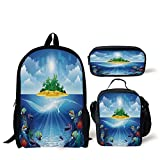 School Lunch Pen Bags,Aquarium,Deserted Tropical Island with Palm Trees Various Exotic Sea Animals and Plants,Multicolor,Personalized Print
