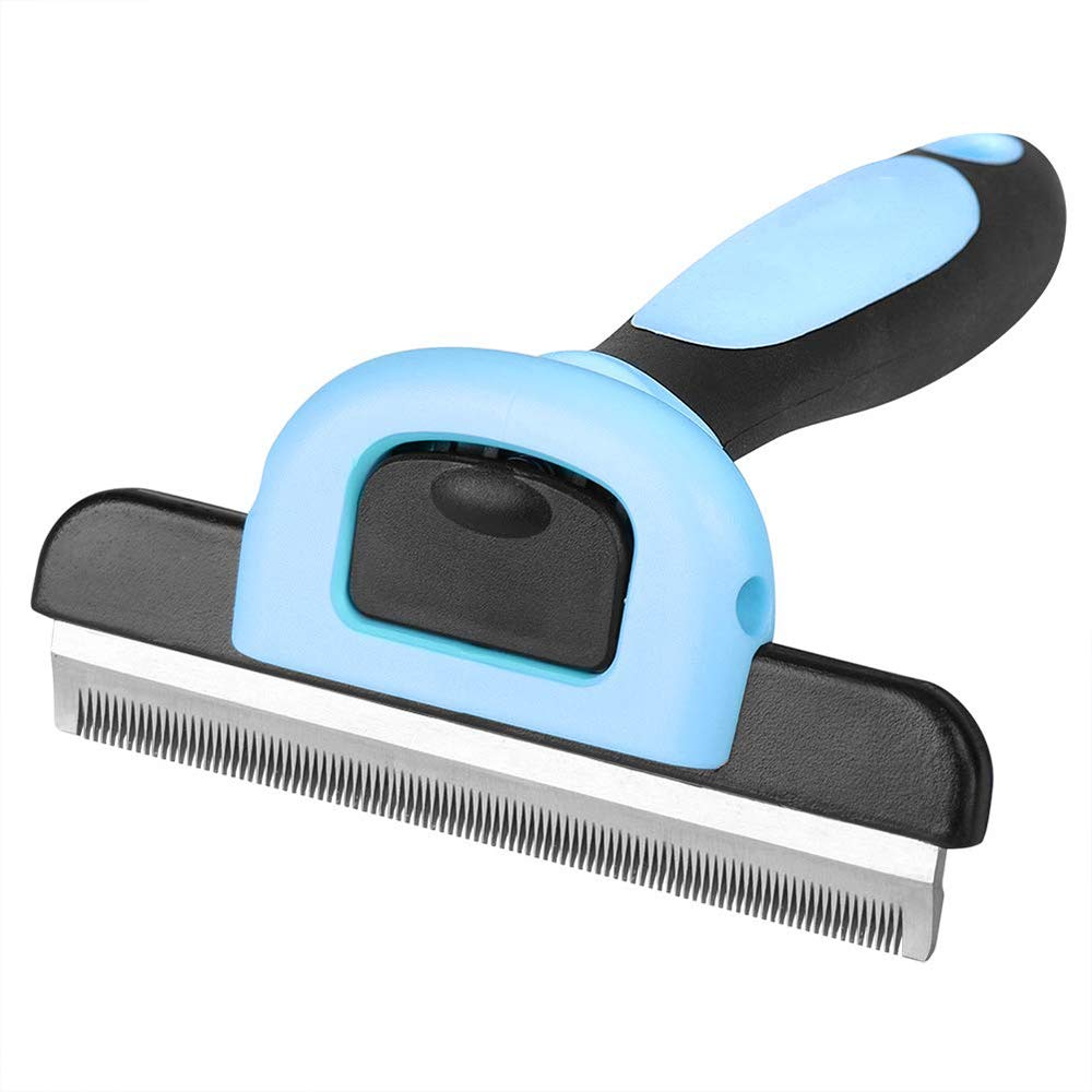 Mengsi Pet Deshedding Tool and Grooming Brush for Dogs and Cats Stainless Steel Safety Blade Dramatically Reduce Shedding for Pets