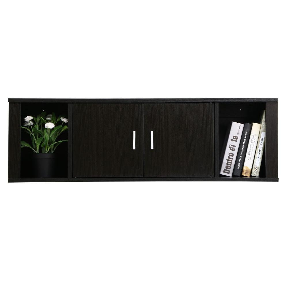 Yaheetech Wall Mounted Wooden Floating Desk with Hutch Storage Shelves Home Office Organizer, Black Brown