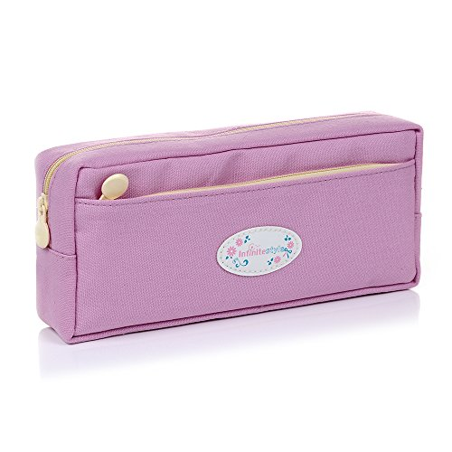 Badalink Student Pen Pencil Case Canvas Coin Purse Pouch Cosmetic Makeup Stationery Bag Case - Light Purple