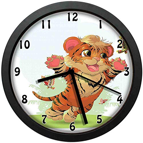 luckboy-zm Cub Playing with Butterflies in The Meadow Joyful Lively Baby Tiger Cat, Orange Cream Green Wall Clock Nice for Gift or Office Home Unique Decorative Clock Wall Decor 12in with Frame