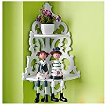 White Wood Pierced Shelves Home wall mounted Storage Holder Cut Out Design Wall Shelf