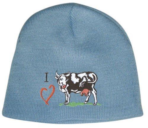 Fan-O-Menal - Strickmütze Skimütze Wollmütze Wintermütze Hip-Hop Mütze mit hochwertiger Einstickung -I Love ...- 54032 blau Kuh-Motiv