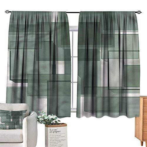 WinfreyDecor Taupe Thermal Curtains Cubes Modern Abstract Darkening and Thermal Insulating 55