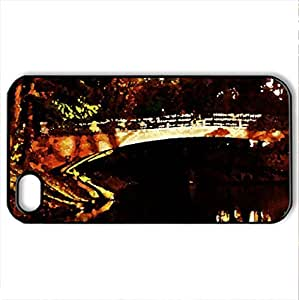 AUTUMN BRIDGE - Case Cover for iPhone 4 and 4s (Bridges Series, Watercolor style, Black)