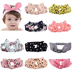 CHRISLZ 10 Pcs Baby Knotted Turban Hairband,Colorful Hair Wraps for Newborn/Baby/Toddler and Childrens(kids-10)
