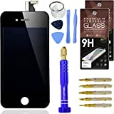 Cell Phone DIY - Premium Black iPhone 4S LCD Screen Replacement & Accessory Kit - Full Assembly Front Screen [Set of 2] Screen Protectors - Professional Tool Kit