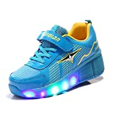 KODOO Kids Single Wheel Sneakers Led Light Roller Skates Flashing Skate Shoes for Girls and Boys (Blue, 4.5 M US Big Kid)