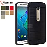 Moto X Style Case, Moto X Pure Edition Case, Aomax@ Anti-Shock Brushed Metal Texture , TPU & PC Dual Layer Hybrid Non-slip Protective Case For Moto X Pure Edition & Moto X Style (VLS Armor Black)