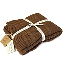 "100% Organic Cotton Throw Cable Knit Blanket (50""x70"") Super Soft Pure Warm Luxurious All-Season Non-Toxic Eco-friendly (Cinnamon Brown)"