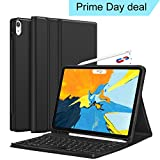 CHESONA iPad Pro 11 Keyboard Case 2018 - Detachable Wireless Keyboard [Support Apple Pencil Charging] - Ultra Slim PU Leather Folio Stand Cover with Pencil Holder for iPad Pro 11 Inch 2018 - Black