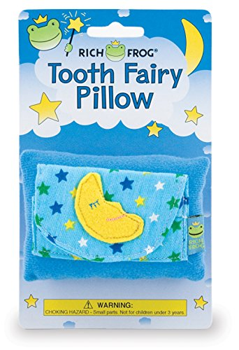 Rich Frog Moon Tooth Fairy Pillow and Tooth Keepsake, Blue - 4""