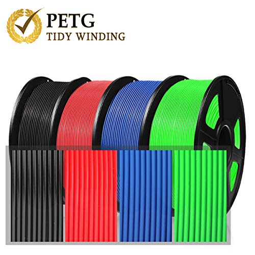 PETG Filament 1.75mm, PETG 3D-Druckerfilament for 3D Printer 3D Pen, PETG Filament 4KG (8.8 lb) PETG Black Red Blue Green