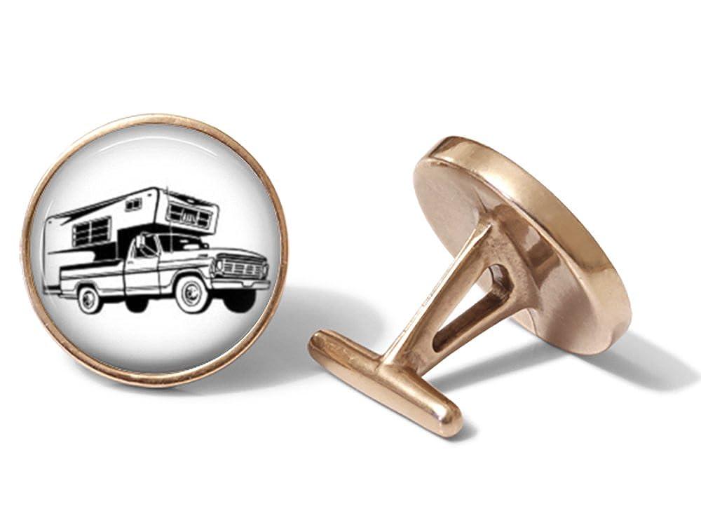 Camper Pickup Truck Cufflinks Solid Bronze