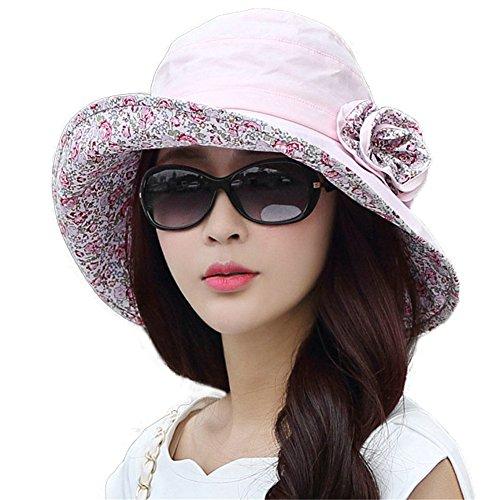 SIGGI Womens UPF50 Cotton Packable Sun Hats w/Chin Cord Wide Brim