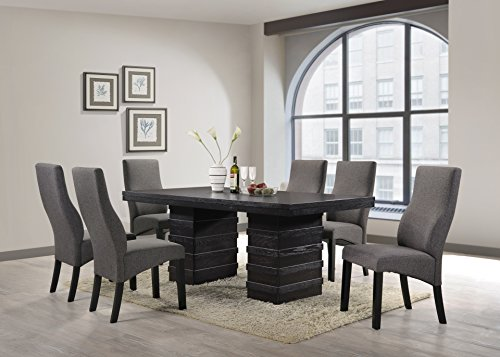 Kings Brand Cappuccino Finish Wood Wave Design Dining Room Kitchen Table & Chairs (Table & 6 Chairs)