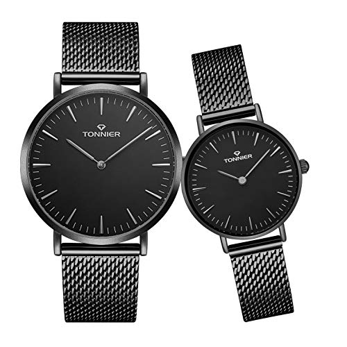 cc4b9997cb Tonnier Stainless Steel Slim Mesh Strap Couple Watches His and Hers Watches  for Lovers Set of