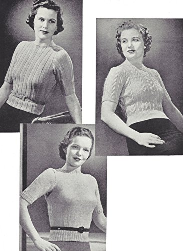 Vintage Knitting PATTERN to make - 40s Three Pullover Sweater Tops Ribbing Cable. NOT a finished item. This is a pattern and/or instructions to make the item ()