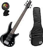 Ibanez GSRM25BK Black 5-String MIKRO Junior Bass Guitar w/ Free Ibanez Gig Bag and Tuner!