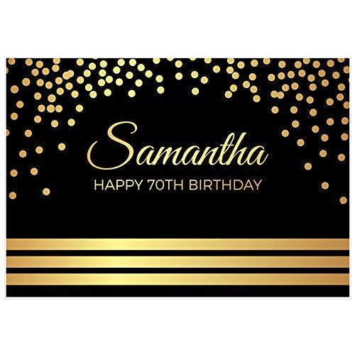 Elegant Gold and Black 70th Birthday Banner Party Backdrop