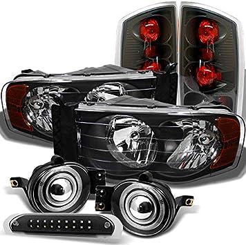 2002-2005 Dodge Ram 1500 Pickup Crystal Clear Headlights+Smoke Tail Brake Lamps