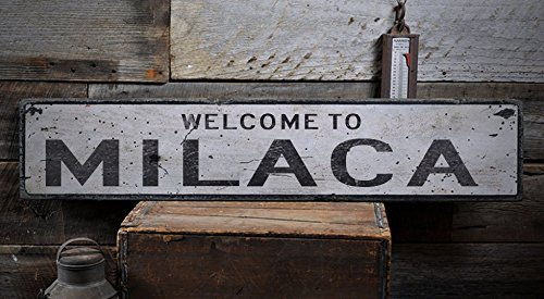 Welcome to MILACA - Custom MILACA, MINNESOTA US City, State Distressed Wooden Sign - 9.25 x 48 Inches