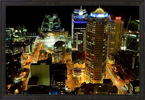 Auckland CBD Viewed from Skytower, Auckland, North Island, New Zealand by David Wall / Danita Delimont Framed Art Print Wall Picture, Espresso Brown Frame, 32 x 22 - Cbd Auckland Auckland