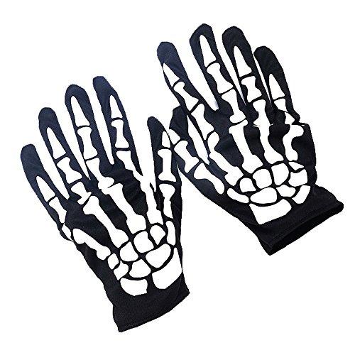 Adecco LLC Unisex Full Finger Skeleton Pattern Glow in the Dark Knit - Light Skeleton Fright
