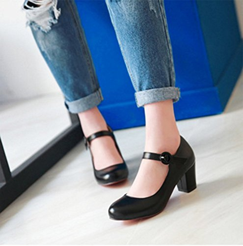 Chfso Femmes Bout Rond Cheville Sangle Boucle Chunky Talon Bas Coupe Chaussures Chaussures Noir