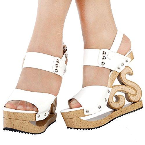 Voir cales Sexy Blanc plate sabots forme Look en histoire sandales l'établissement LF30831 bois goujon Slingback rqAr8w