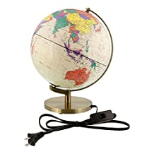 10 Inch (25cm) Illuminated Premium Antique Desktop World Earth Globe by TCP Global