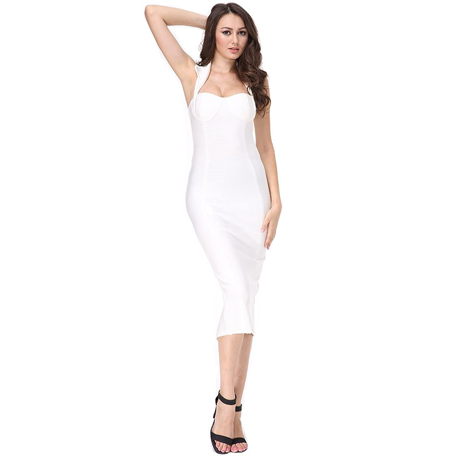 Ladyce Bandage Dress Rayon Off The Shoulder White Bodycon Evening Party Dress